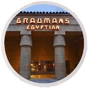 Famous Egyptian Theater In Hollywood California. Round Beach Towel