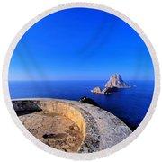 Famous Tower Of Savinar On Ibiza Island Round Beach Towel