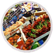 Farmers Market Florence Italy Round Beach Towel