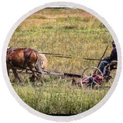 Farming With Horses Round Beach Towel