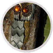 Faux Owl With Golden Eyes Round Beach Towel