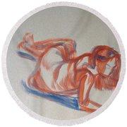 Female Figure Painting Round Beach Towel
