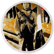 Female Soldier With Mexican Flag  Unknown Location C. 1914-2014 Round Beach Towel