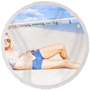 Female Vacationer Relaxing At Tropical Paradise Round Beach Towel