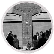 Fenway Park - Fans And Locked Gate Round Beach Towel