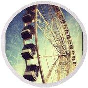 Ferris Wheel In Paris Round Beach Towel