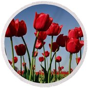 Field Of Red Tulips Round Beach Towel