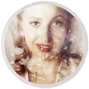 Fifties Beauty In Nature And Natural Light Round Beach Towel