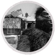Film Homage Barbara Payton Bride Of The Gorilla 1951 Gorilla Mascot July 4th Mattress Sale 1991 Round Beach Towel