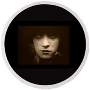 Film Homage Billy Bitzer Miriam Cooper Intolerance 1916 Screen Capture Color Added 2012 Round Beach Towel