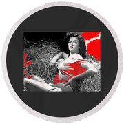 Film Homage Jane Russell The Outlaw 1943 Publicity Photo Photographer George Hurrell 2012 Round Beach Towel