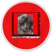 Film Homage Joan Crawford Louis Milestone Rain 1932 Collage Color Added 2010 Round Beach Towel