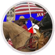 Film Homage Ride Vaquero 1953 1 Hispanic Riders Rodeo Parade Tucson Az 2002-2008 Round Beach Towel