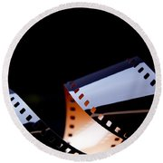 Film Strip Abstract Round Beach Towel by Tim Hester