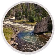 Fin On The Firehole Round Beach Towel