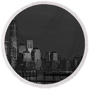 Financial District In New York City At Twilight Round Beach Towel