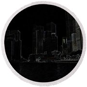 Financial District Of Singapore And View Of The Water Round Beach Towel