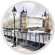 Fine Art Drawing The Tower Bridge In London Uk Round Beach Towel