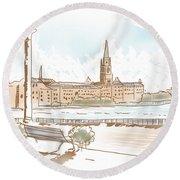 Fine Art Landscape Sketch Of Stockholm Sweden  Round Beach Towel