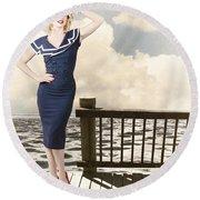 Fine Art Vintage Pin-up. Vacation Departure Dock Round Beach Towel