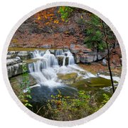 Finger Lakes Waterfall Round Beach Towel