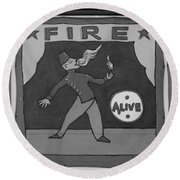 Fire Eater In Black And White Round Beach Towel