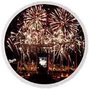 Fireworks At Kauffman Stadium Round Beach Towel