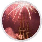 Fireworks Exploding Over Salem's Friendship Round Beach Towel