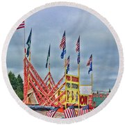 Fireworks Stand Round Beach Towel by Cathy Anderson