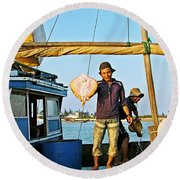 Fisherman With A Skate On Thu Bon River In Hoi An-vietnam  Round Beach Towel