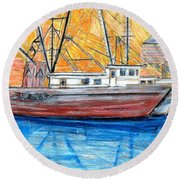 Fishing Trawler Round Beach Towel