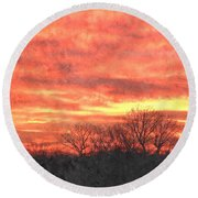 Flaming Sunset Round Beach Towel