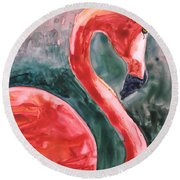 Flamingo Icon Round Beach Towel