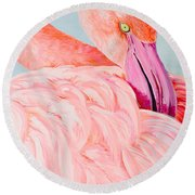Female Flamingo In The Bahamas Round Beach Towel