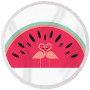 Flamingo Watermelon Round Beach Towel