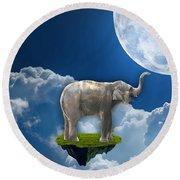 Flight Of The Elephant Round Beach Towel