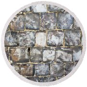 Flint Stone Wall Round Beach Towel