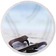 Flip-flops On Beach Round Beach Towel