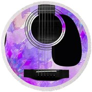 Floral Abstract Guitar 17 Round Beach Towel