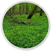 Floral Forest Floor Round Beach Towel