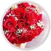Floral Rose Boquet Held By Bride Round Beach Towel