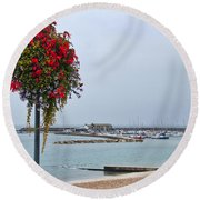 Flowers Along The Seafront Round Beach Towel