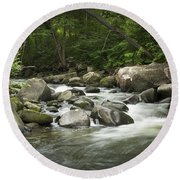 Flowing Stream In Vermont Round Beach Towel