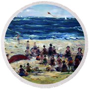 Flying A Kite At The Beach Round Beach Towel