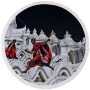 Flying Monks 2 Round Beach Towel