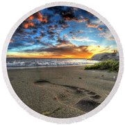 Foot Print In The Sand Round Beach Towel