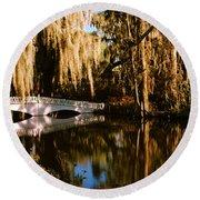 Footbridge Over Swamp, Magnolia Round Beach Towel