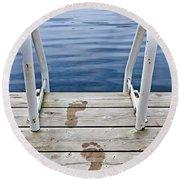 Footprints On Dock At Summer Lake Round Beach Towel