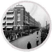 Ford Work Shift Change - Detroit 1916 Round Beach Towel