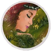 Forest Girl Round Beach Towel